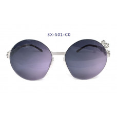 三叉結構鋼之本色墨鏡女款 59-17-145(銀色框),抗UV400鏡片